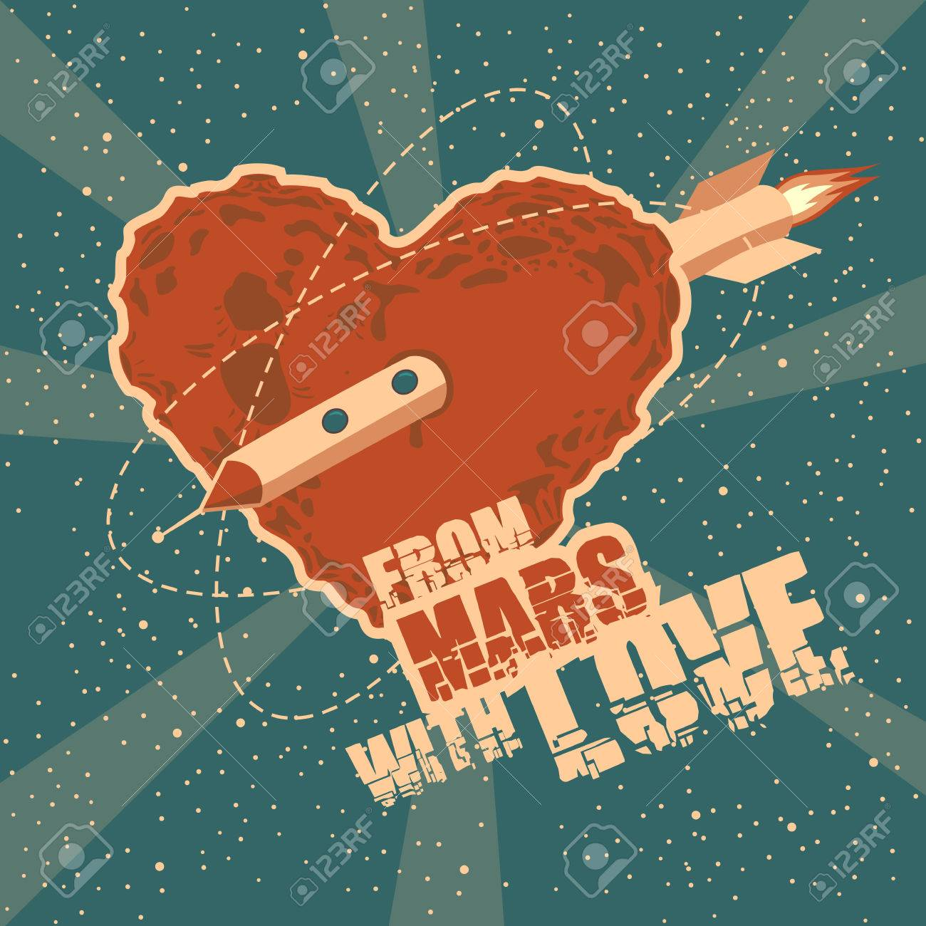 Vintage space greeting card with heart shape Stock Vector - 26044658