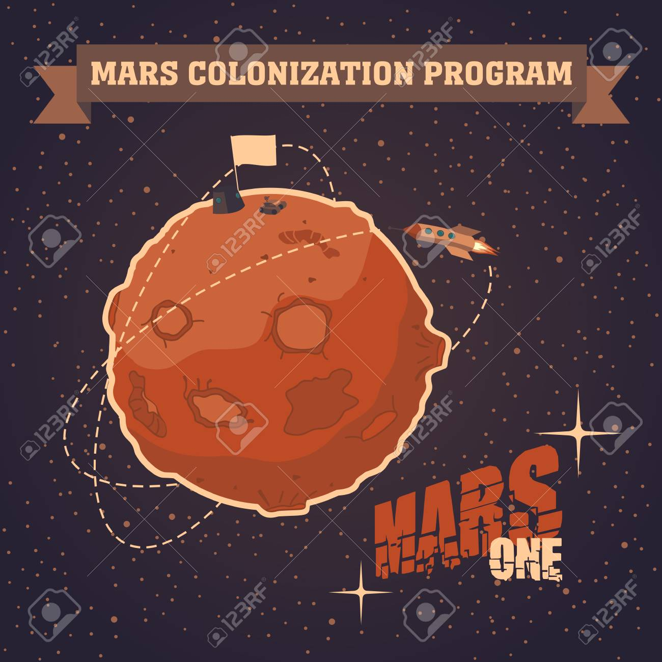 Vintage sapce postcard of the day of landing humans on Mars Stock Vector - 26044515