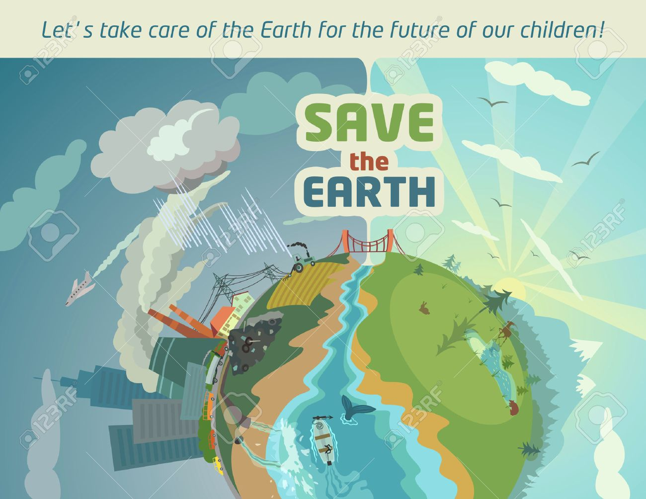 Poster design environment - Save The Earth Eco Poster Stock Vector 26040799