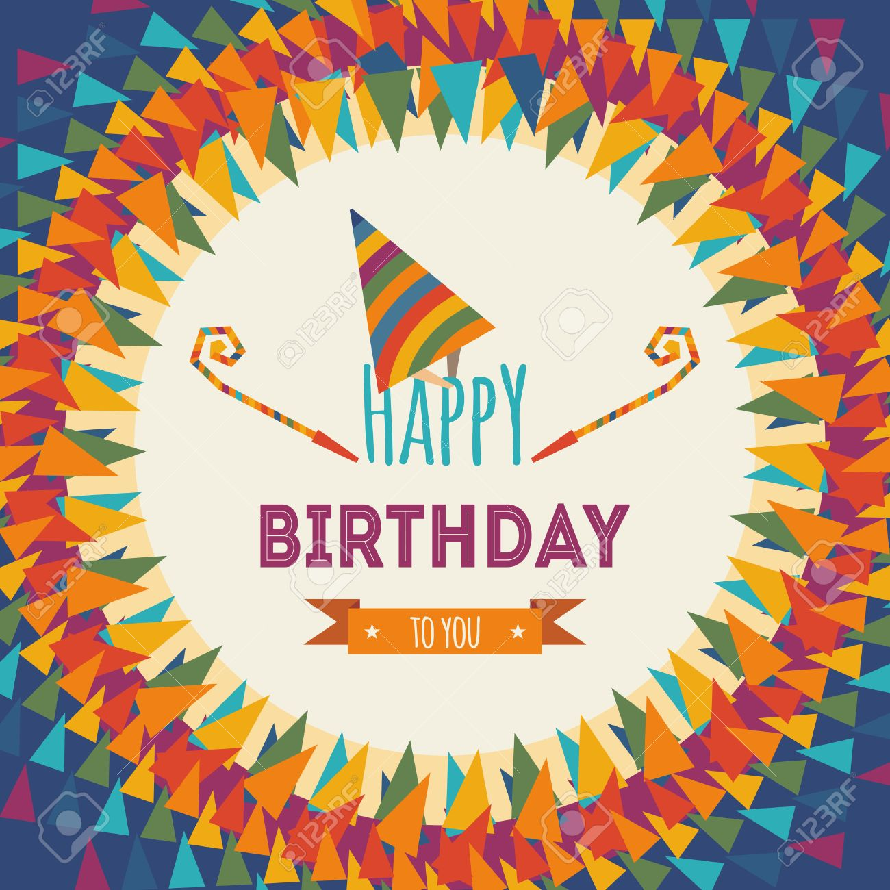 Happy Birthday Greeting Card On Colorful Geometric Abstract
