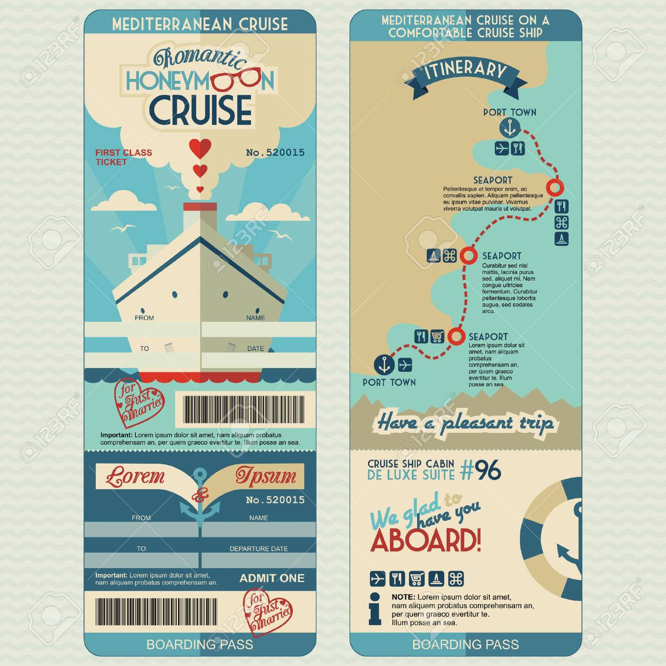 Honeymoon Cruise Boarding Pass For Just Married. Flat Graphic ...