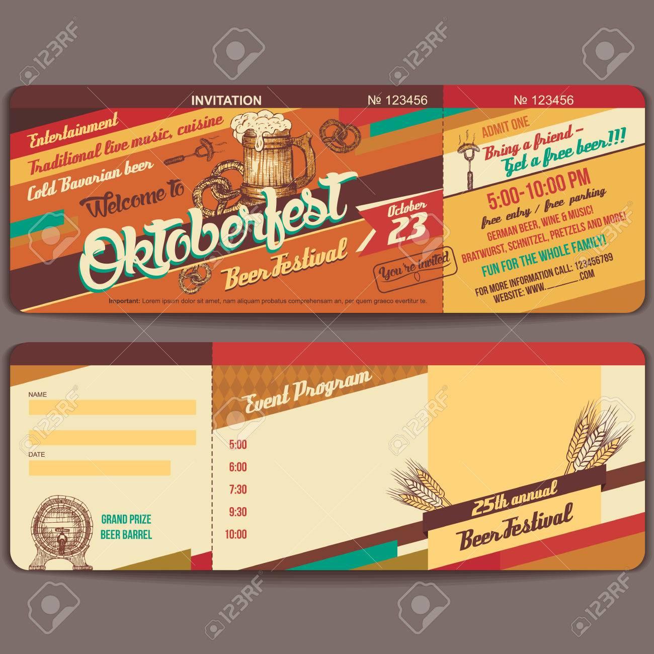 vintage-stil oktoberfest deutsch bierfest einladung vorlage vektor, Einladung