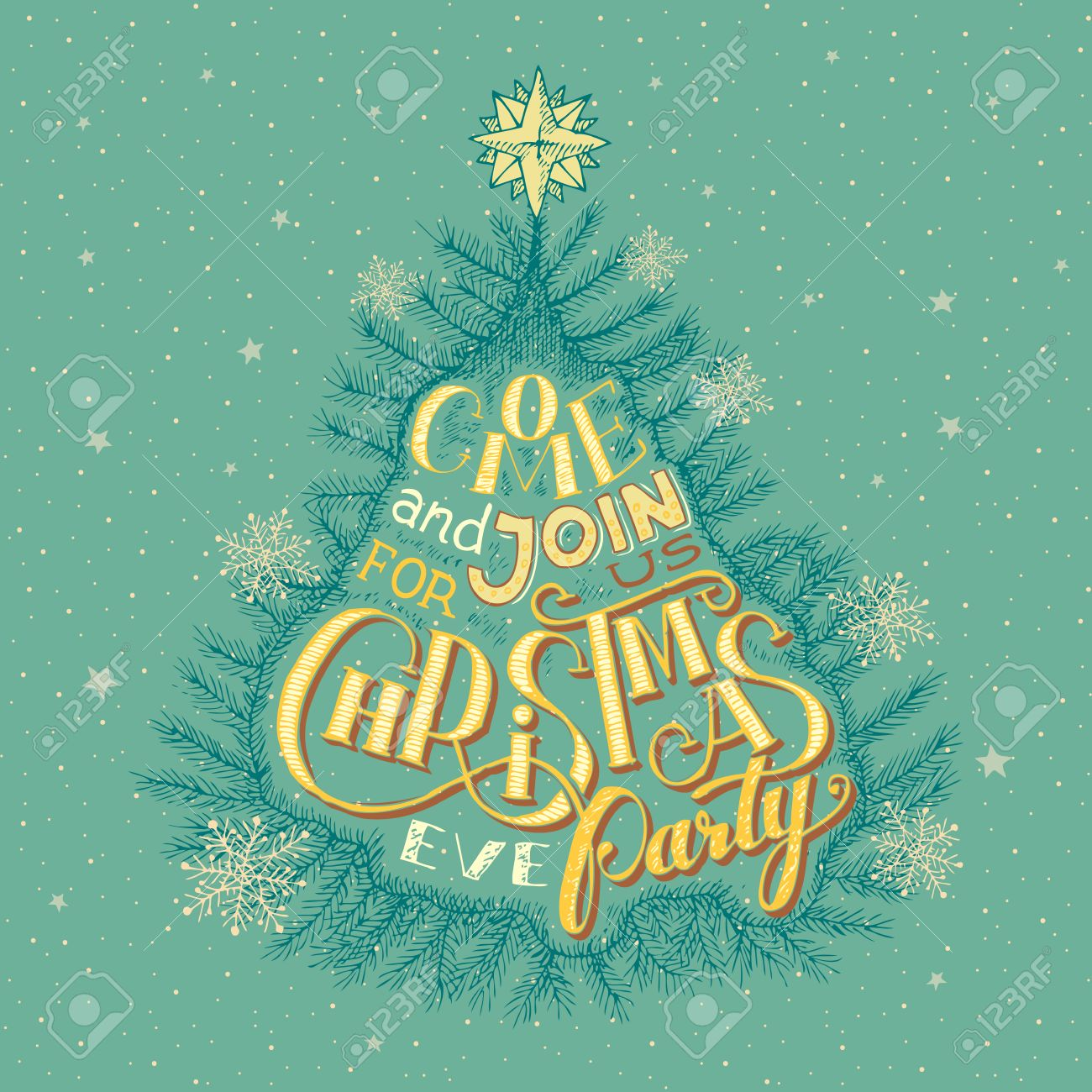 Vintage Christmas Eve Party Invitation Hand-lettering Royalty Free ...