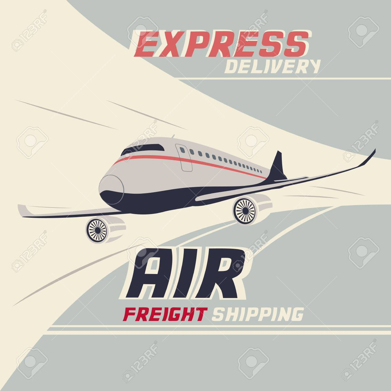 Air freight international shipping. Flying airplane vintage illustration - 36564452
