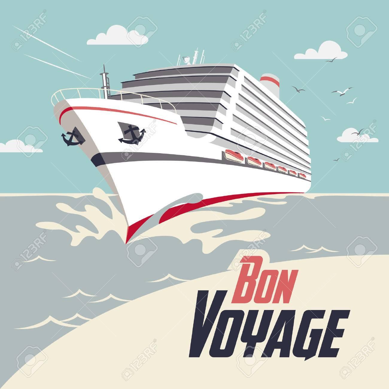 Cruise ship illustration with Bon Voyage headline - 36942586