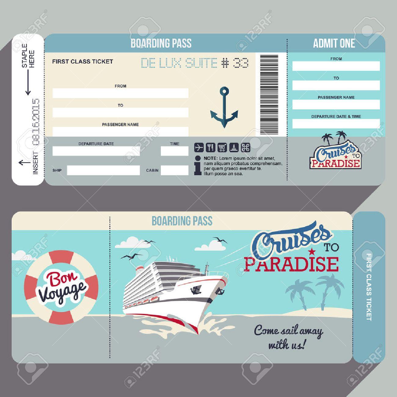 Cruises To Paradise. Cruise Ship Boarding Pass Flat Graphic Design ...