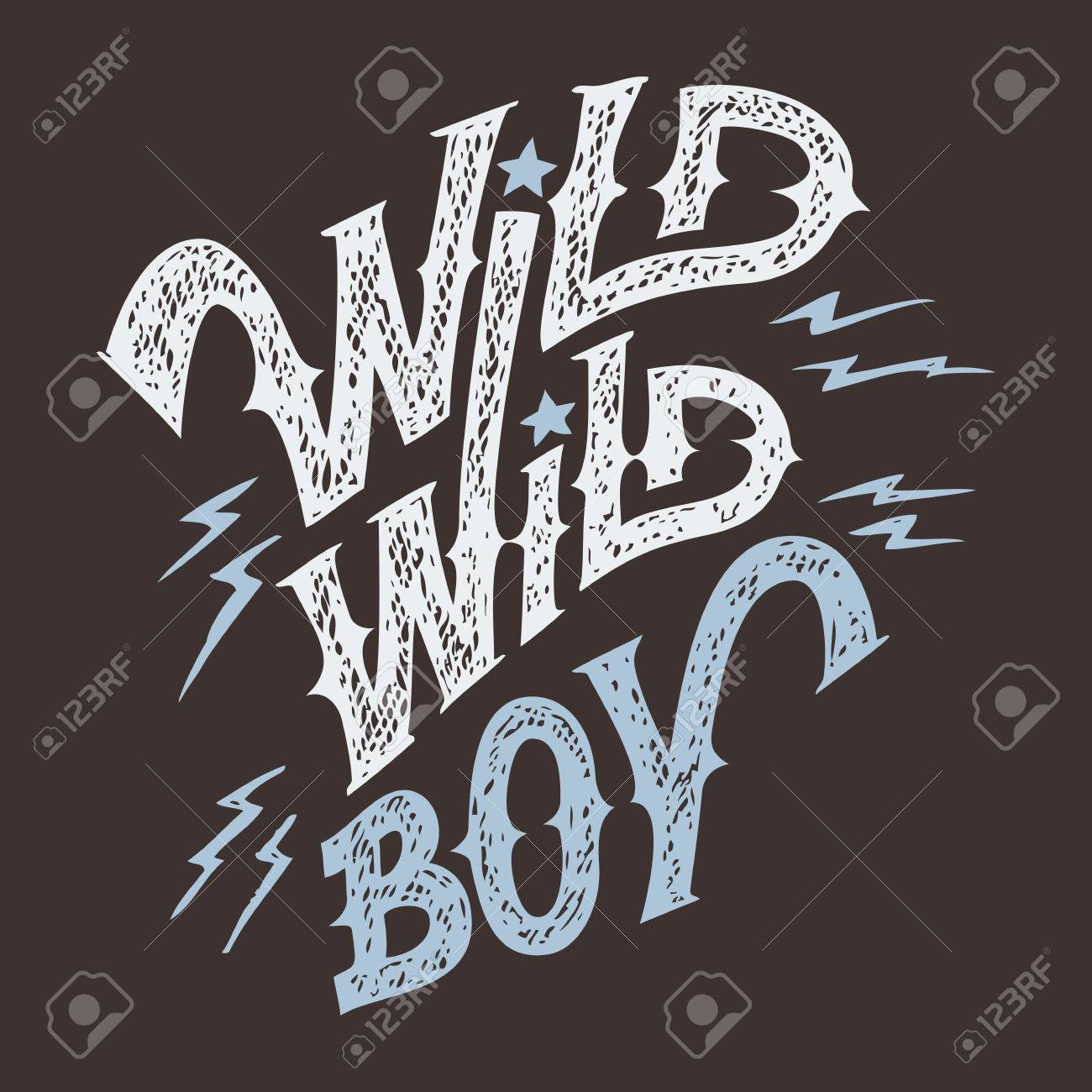 wild wild boy hand lettering t shirt and wear design stock vector