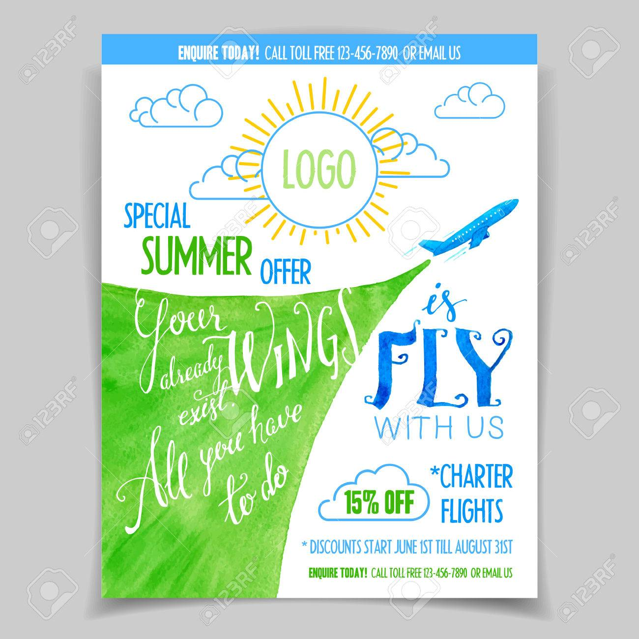 airline promotional flyer or poster special summer offer on airline promotional flyer or poster special summer offer on flights handlettering watercolor design template stock