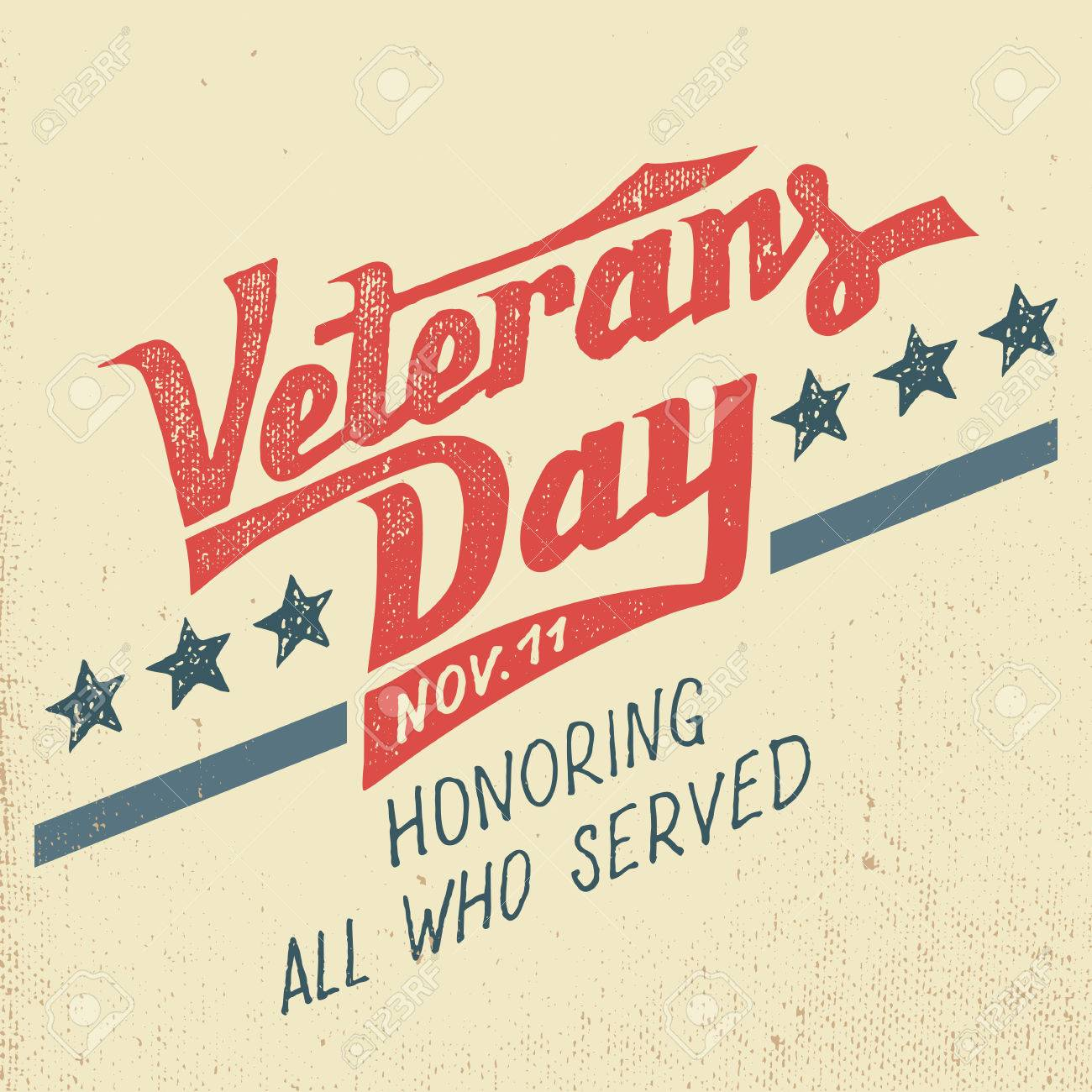Veterans day greeting card with hand-drawn typographic design in vintage style - 47348049