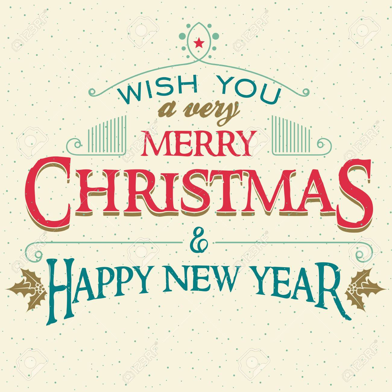 vector wish you a very merry christmas and happy new year typographic cover design of greeting card
