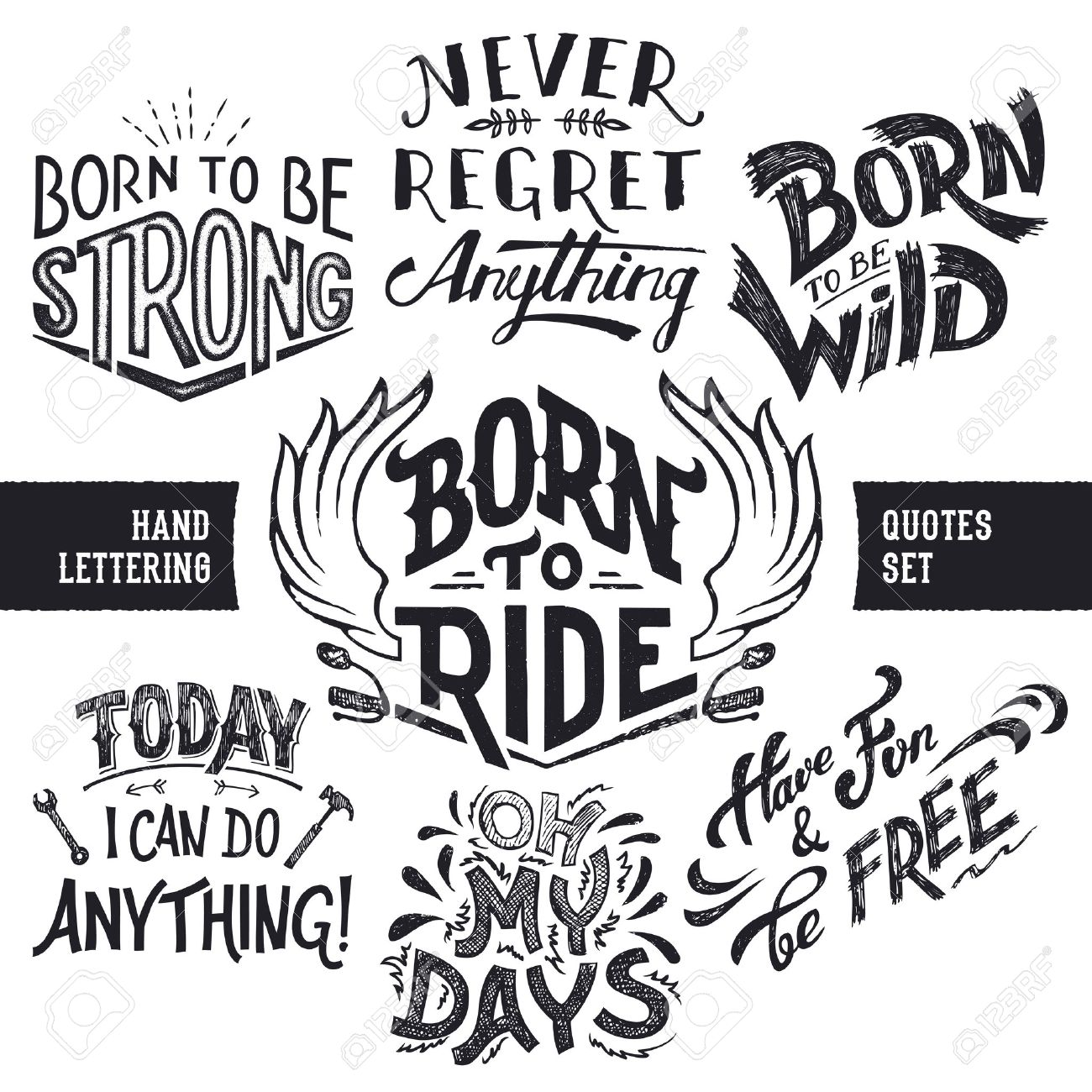 Hand Lettering Trendy Motivational And Funny Quotes Set Isolated