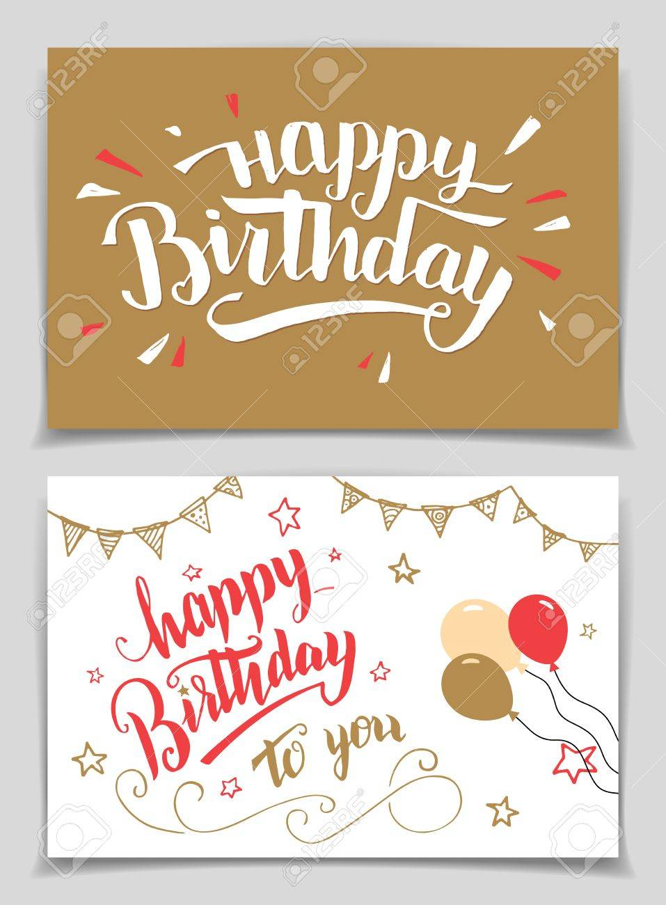 Happy Birthday Greeting Cards Set Brush Calligraphy Stock Vector