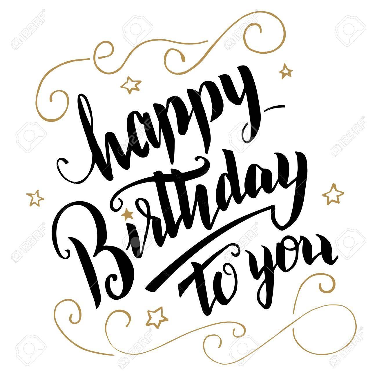 Happy Birthday greeting card. Brush calligraphy, handwritten text - 52334723