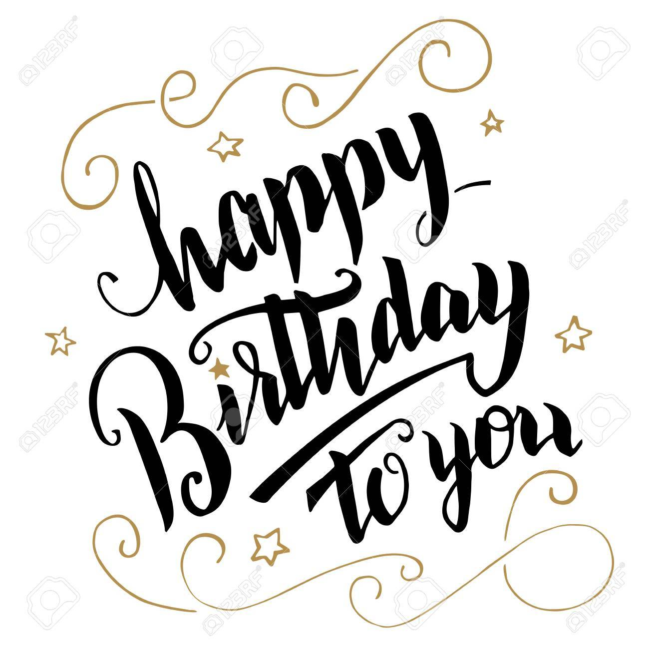Happy Birthday Greeting Card Brush Calligraphy Handwritten Text Stock Vector