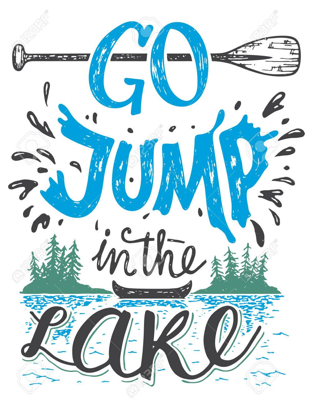 Go Jump In The Lake Lake House Decor Sign In Vintage Style Royalty Free Cliparts Vectors And Stock Illustration Image 56479266