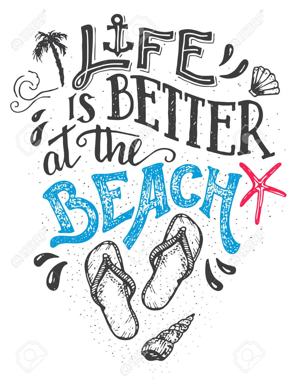 Life is better at the beach. Hand-lettering quote card with a flip-flops footwear. Beach sign home decor isolation on white background - 56479268