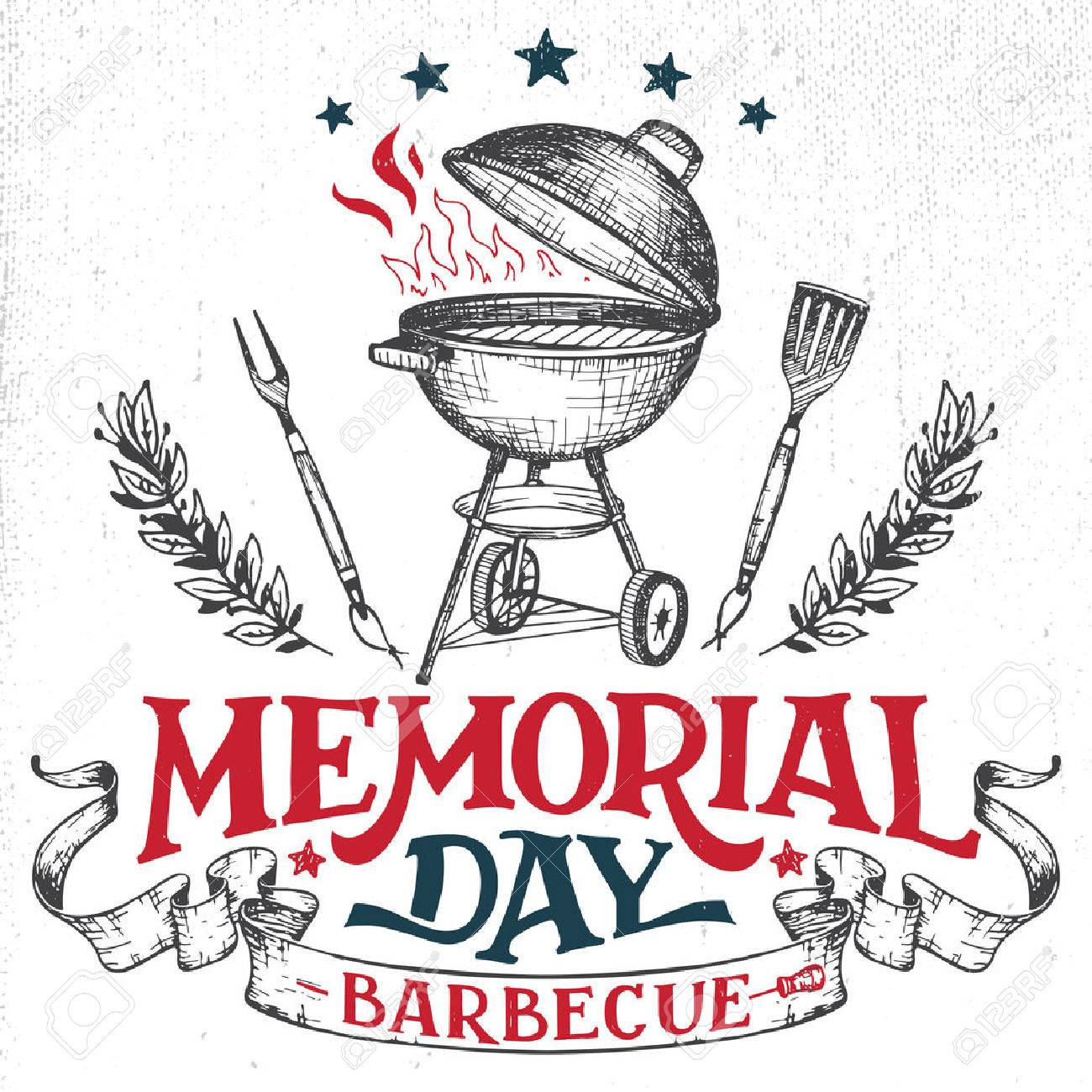 memorial day barbecue holiday greeting card hand lettering cookout