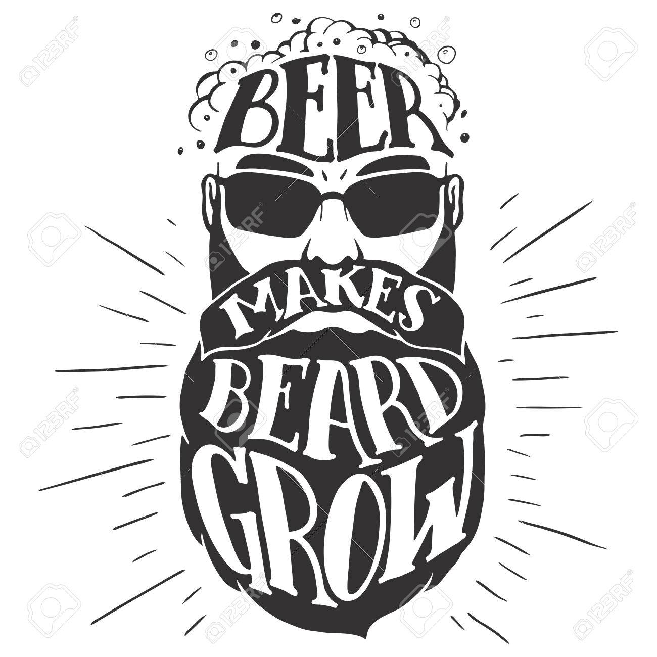 Beer makes beard grow. Oktoberfest illustration of a bearded man isolated on white background. Bearded beer lover. T-shirt print or pub poster - 63872089
