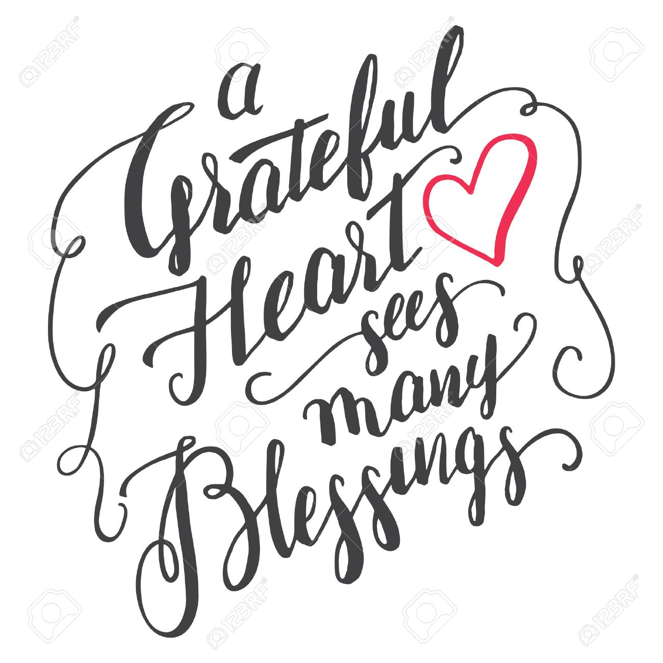 A Grateful Heart Sees Many Blessings. Gratitude Brush Calligraphy Quote For  Greeting Cards And Posters