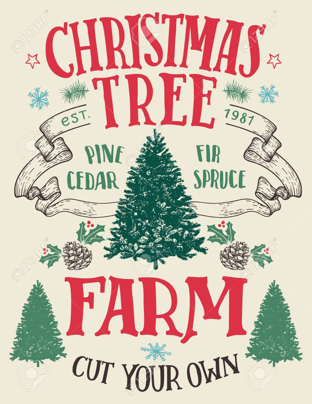 Cut Your Own Christmas Tree Near Me.Christmas Tree Farm Cut Your Own Hand Lettering Vintage Sign