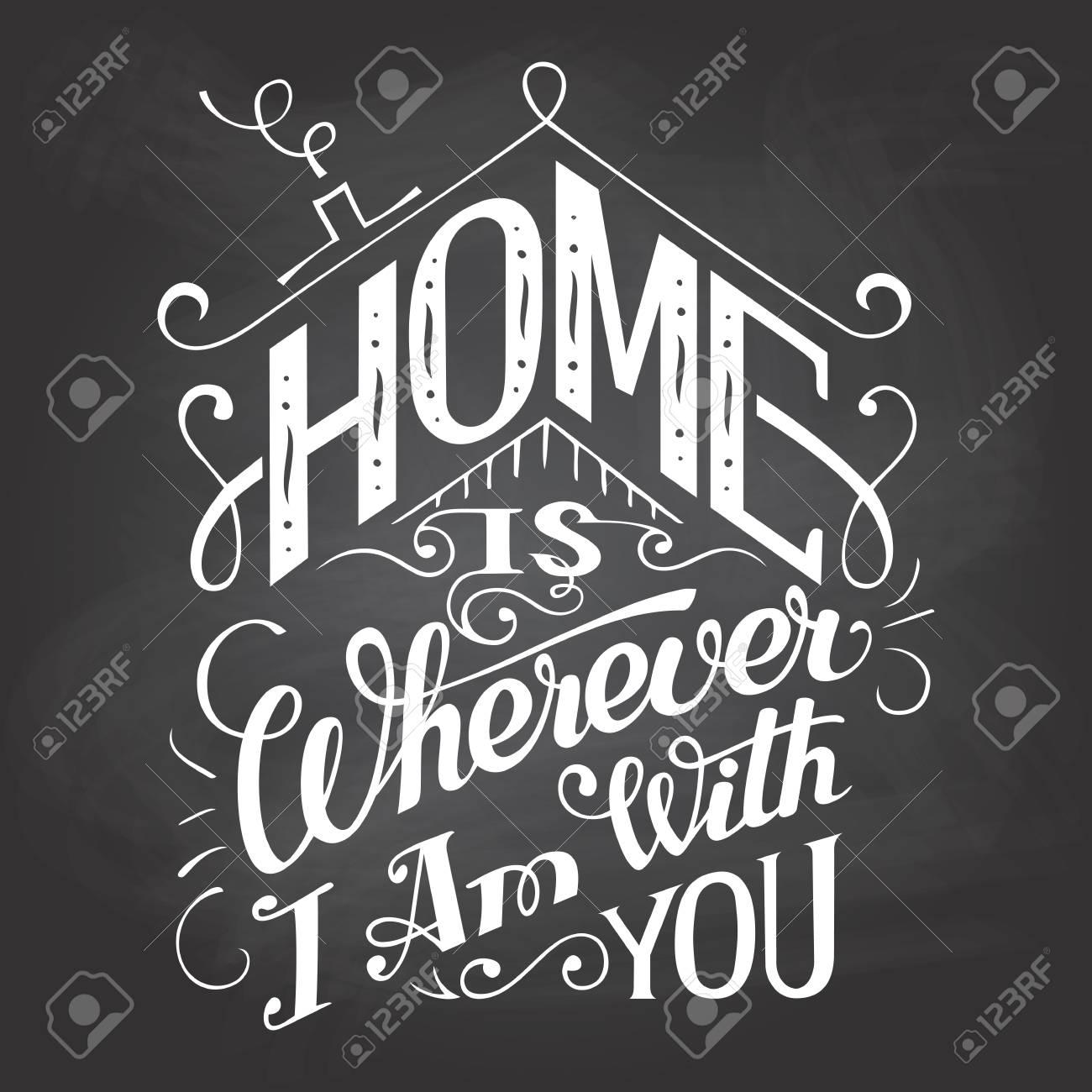 Parete Dipinta A Lavagna la casa è ovunque io sono con voi. segno di parete lavagna. hand-scritta su  sfondo lavagna con il gesso. tipografia decorativo