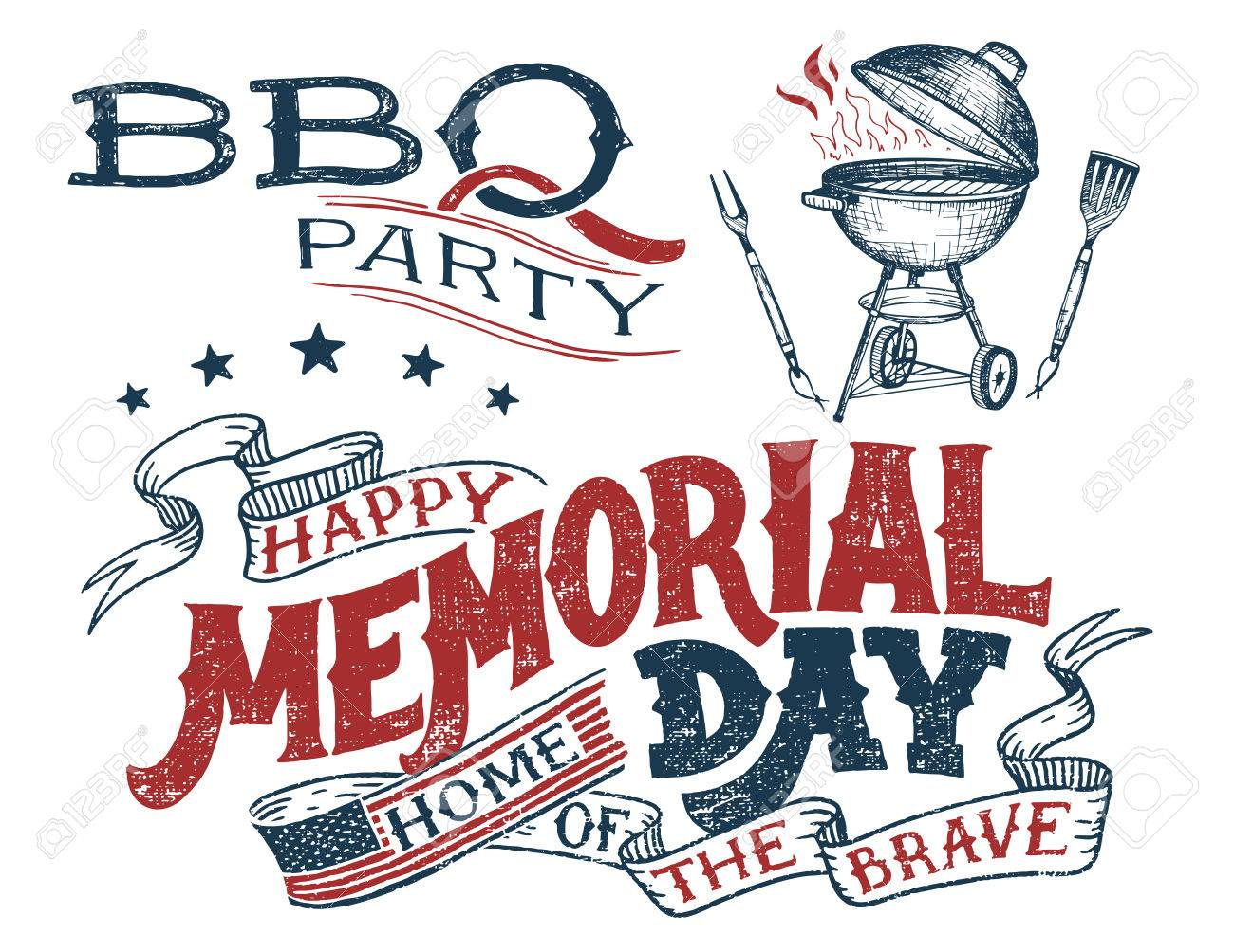 Memorial Day Barbecue Party Greeting Card. Hand Lettering Cookout ...