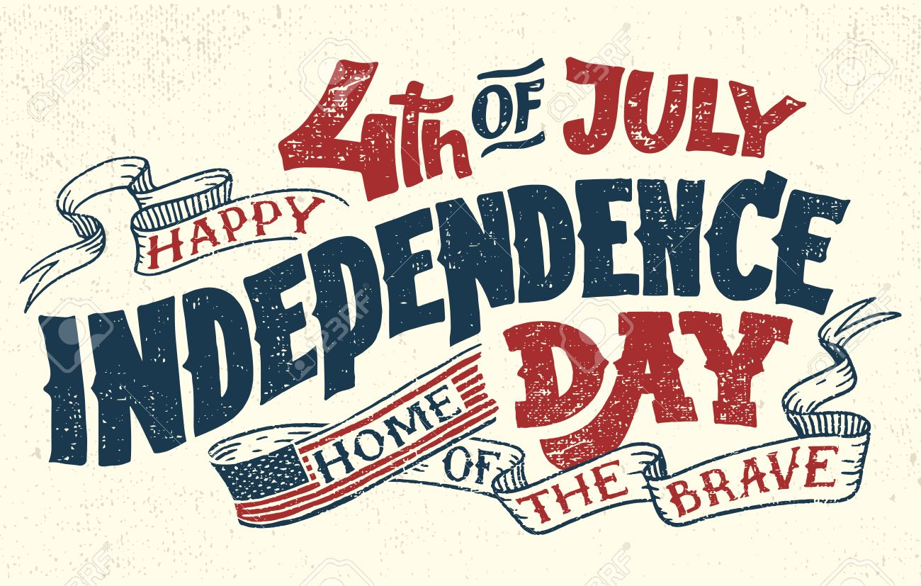 Happy Fourth of July. Independence day of the United States, 4th of July. Home of the brave. Hand lettering greeting card with textured letters. Vintage typography illustration. - 79410284