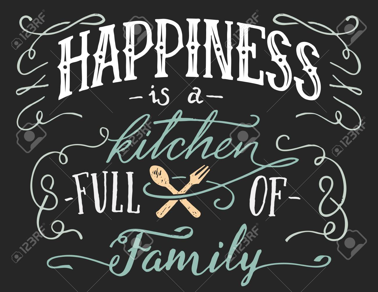 Le Bonheur Est Une Cuisine Pleine De Famille Signe De Citation Lettrage à La Main Pour La Décoration Intérieure Affiche De Typographie Dessinée à La