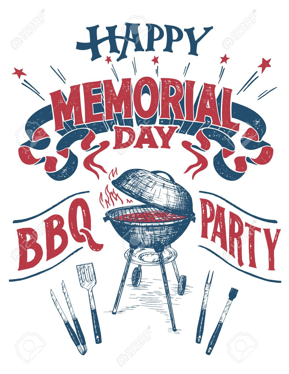 Happy Memorial Day, Barbecue Party Sign. Hand Lettering Cookout ...