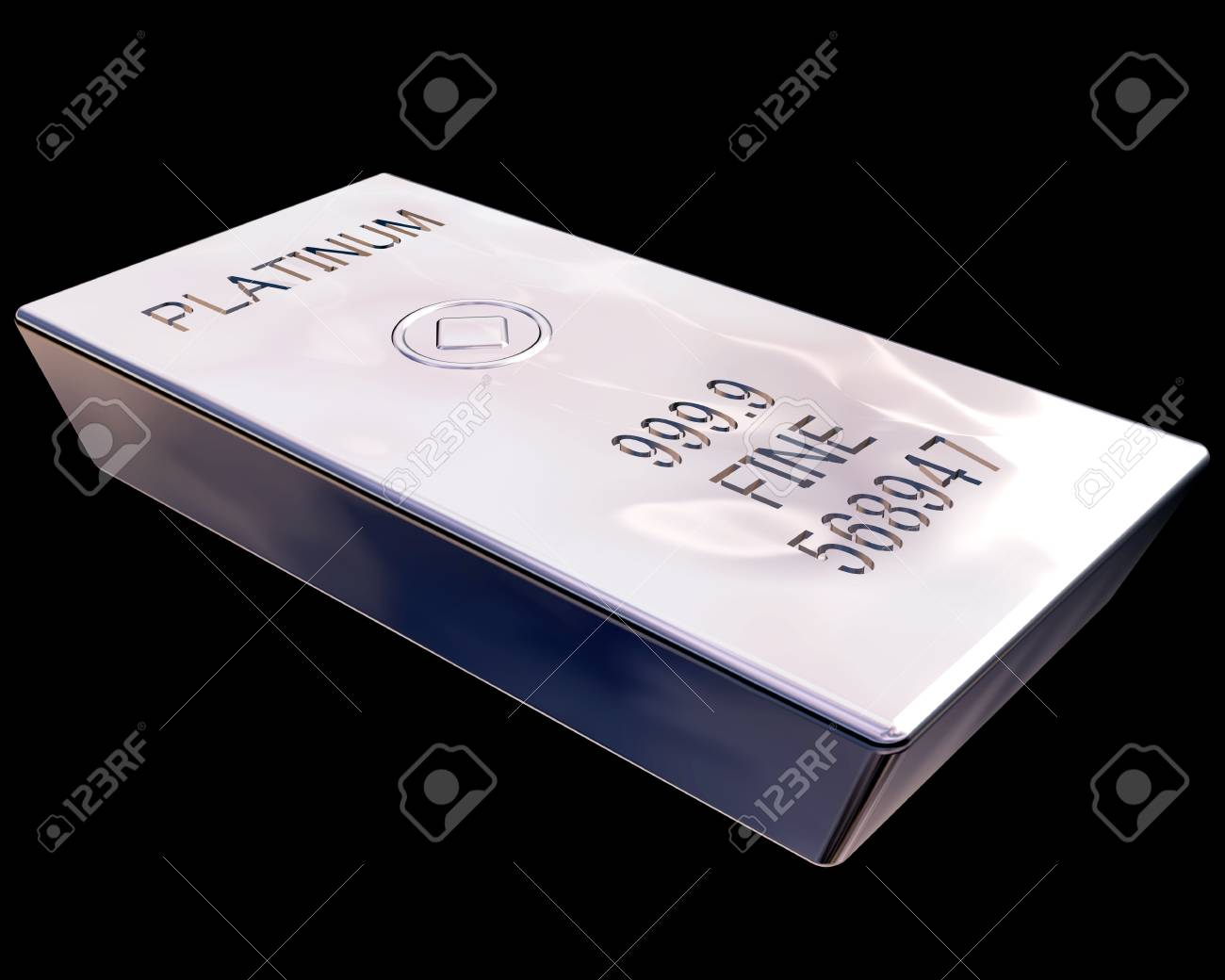 Single bar of pure platinum isolated on a black background Stock Photo - 3132425