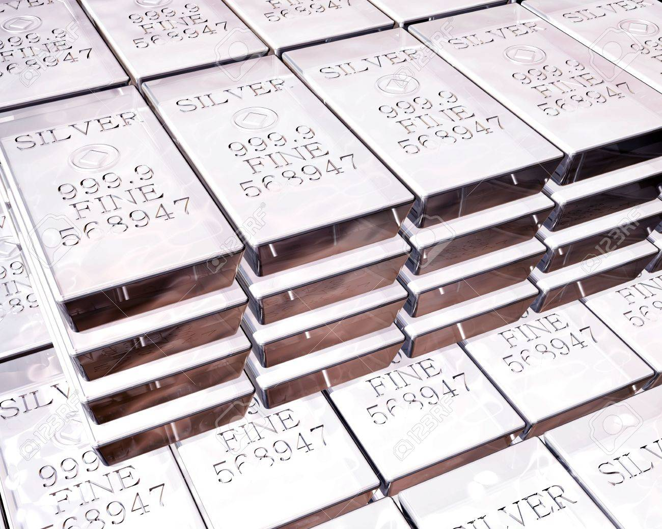 stacks of pure silver bars on piles of bullion Stock Photo - 3132430