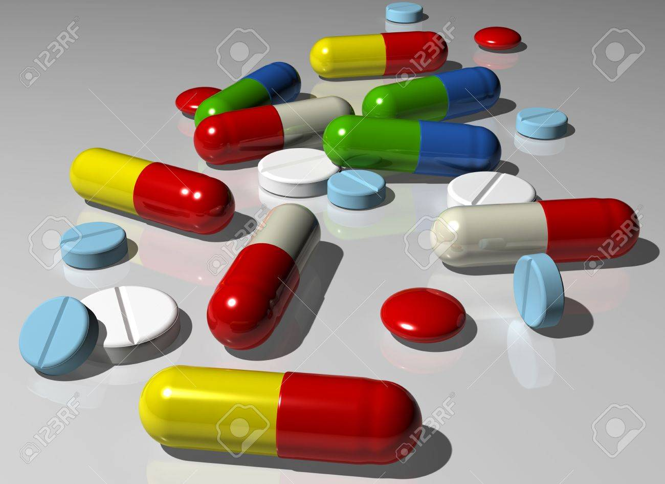Illustration of various colorful capsules and pills Stock Photo - 3852764