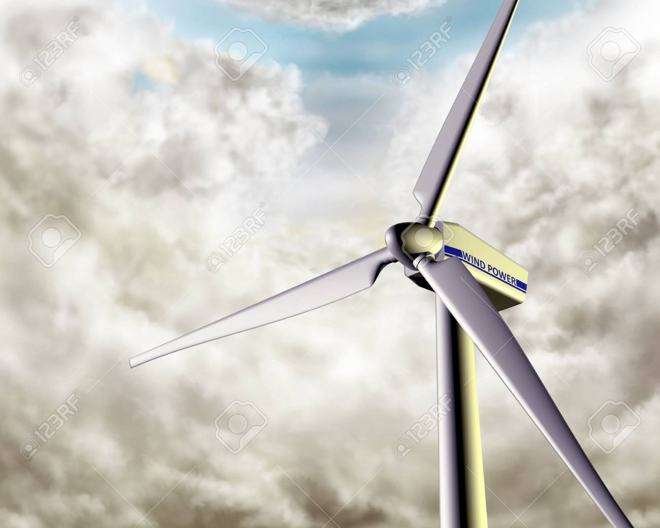 Illustration of a wind turbine in dramatic weather Stock Illustration - 3998769