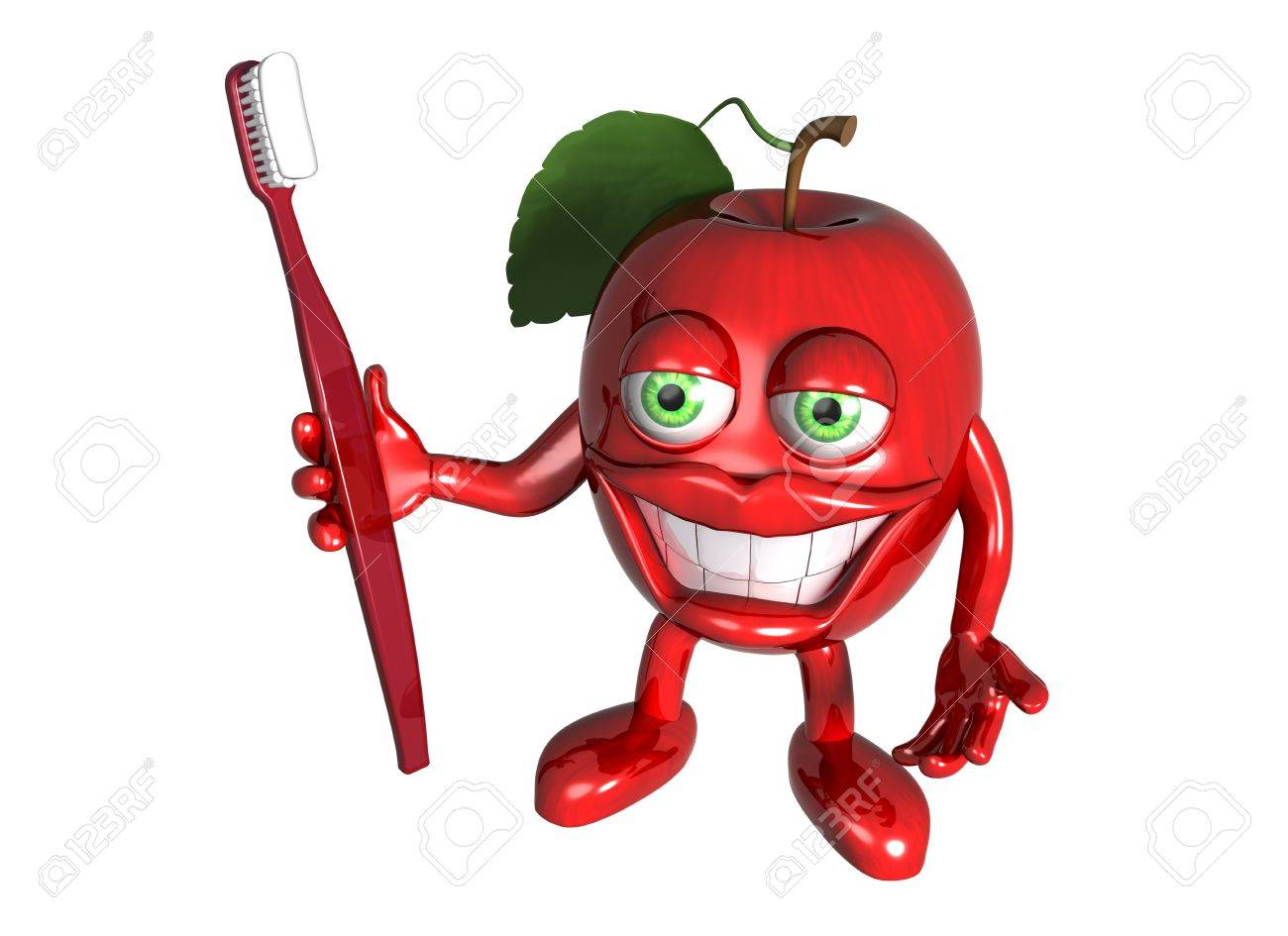 Isolated illustration of a cartoon red apple with a big toothbrush and white teeth Stock Illustration - 4525945