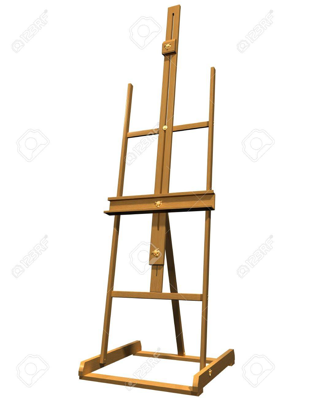 isolated of a wooden artist easel stock