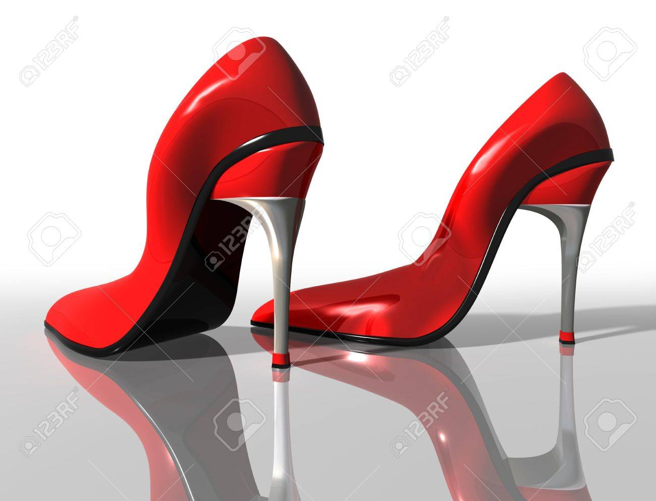 Red High Heel Wedges