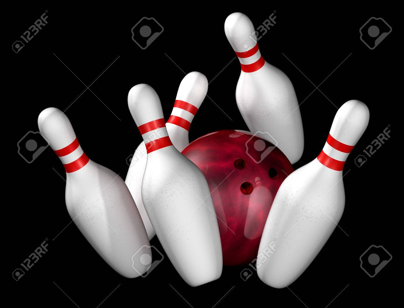 Illustration of bowling ball and pins isolated on black Stock Photo - 5060536