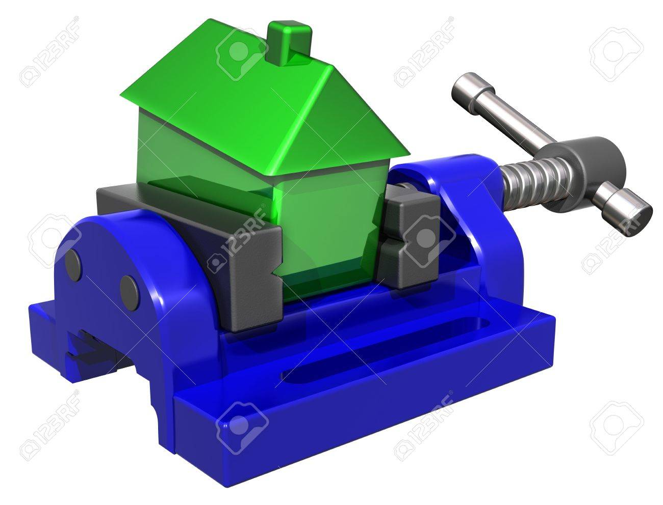 Isolated illustration of a house being squeezed in a vice Stock Illustration - 5377401