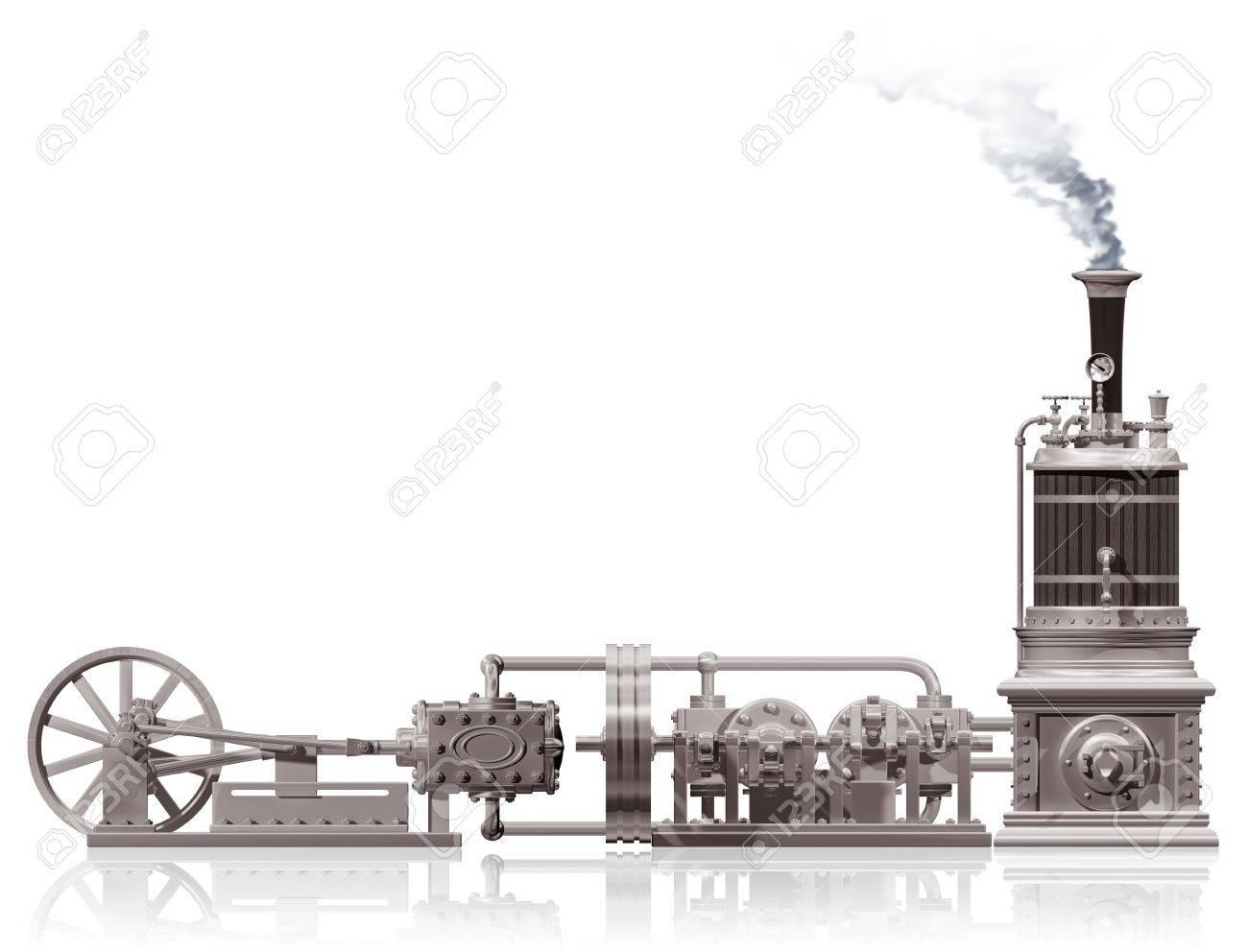 Original illustration of a steam plant motif Stock Illustration - 6255402