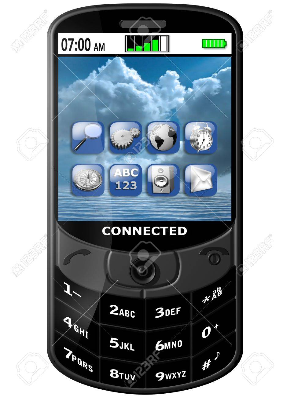 Isolated illustration of a connected modern Smartphone Stock Illustration - 6920316