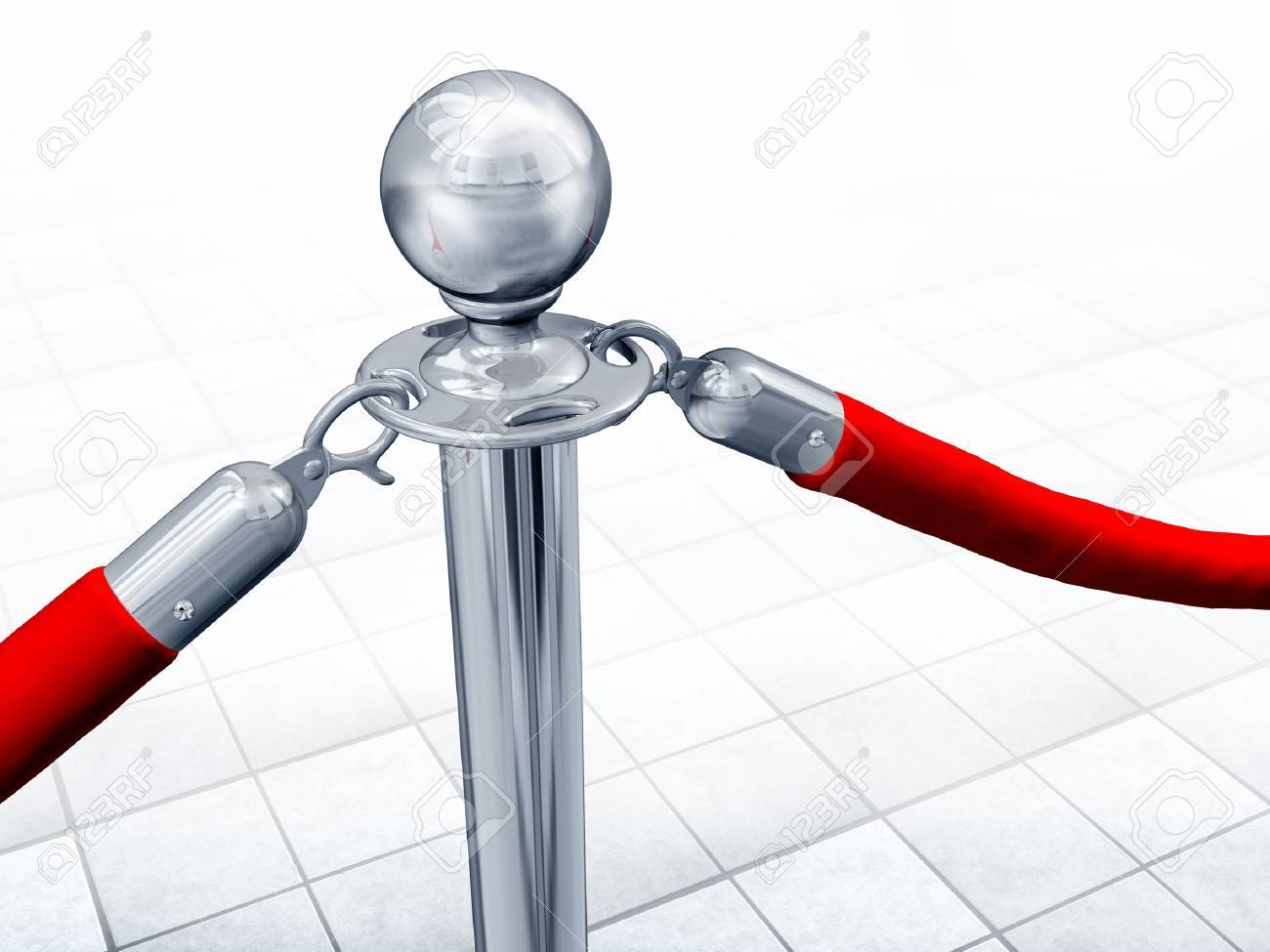 Illustration of velvet rope and stand close up Stock Photo - 9414998