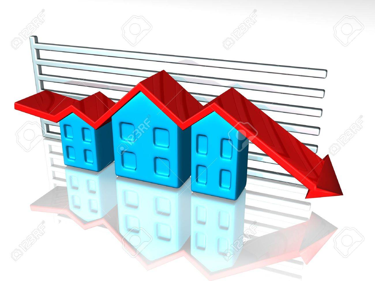 illustration of a graph depicting house prices stock photo