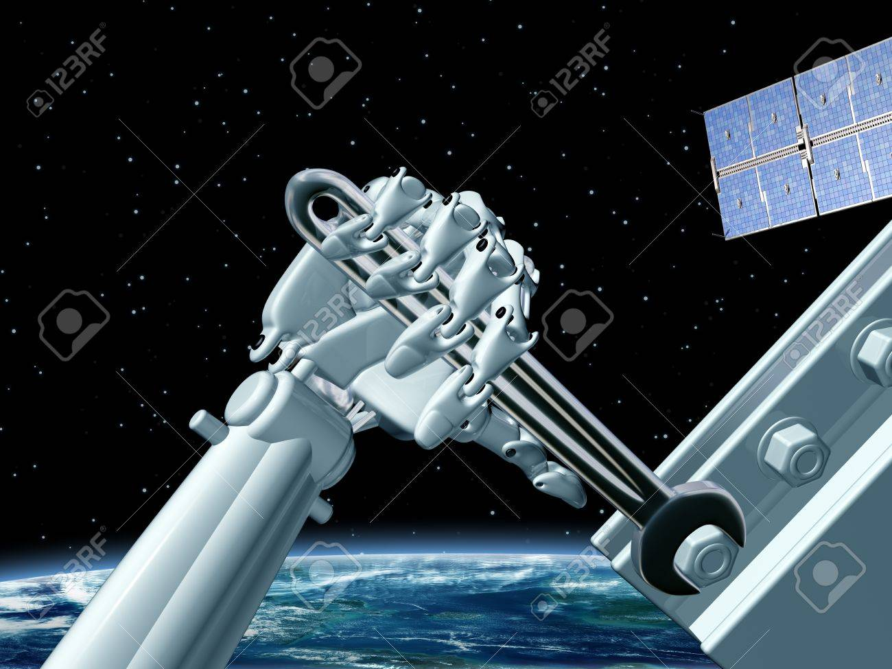 Illustration of a robot doing maintenance work in outer space Stock Illustration - 9851612