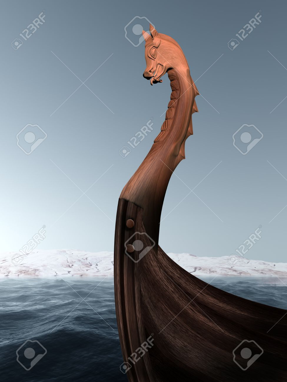Illustration Of An Ancient Wooden Figurehead On A Viking Longboat Pinterest Ship And Sailing Ships