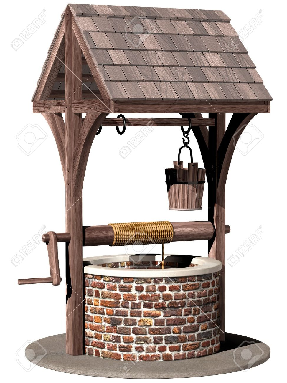 isolated illustration of an ancient and magical wishing well stock