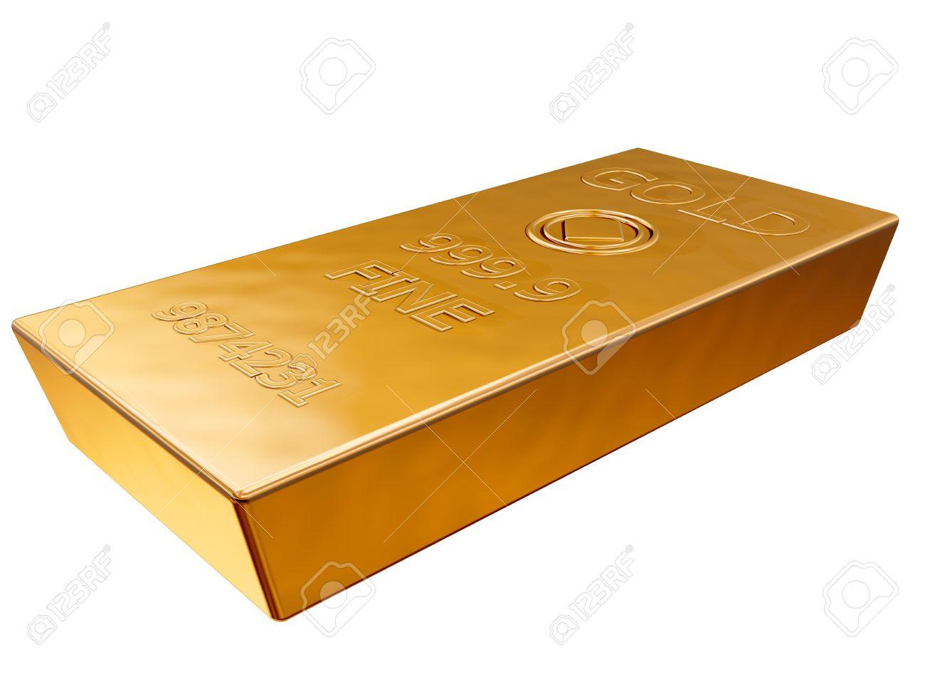 Isolated illustration of a pure gold ingot Stock Illustration - 11854089