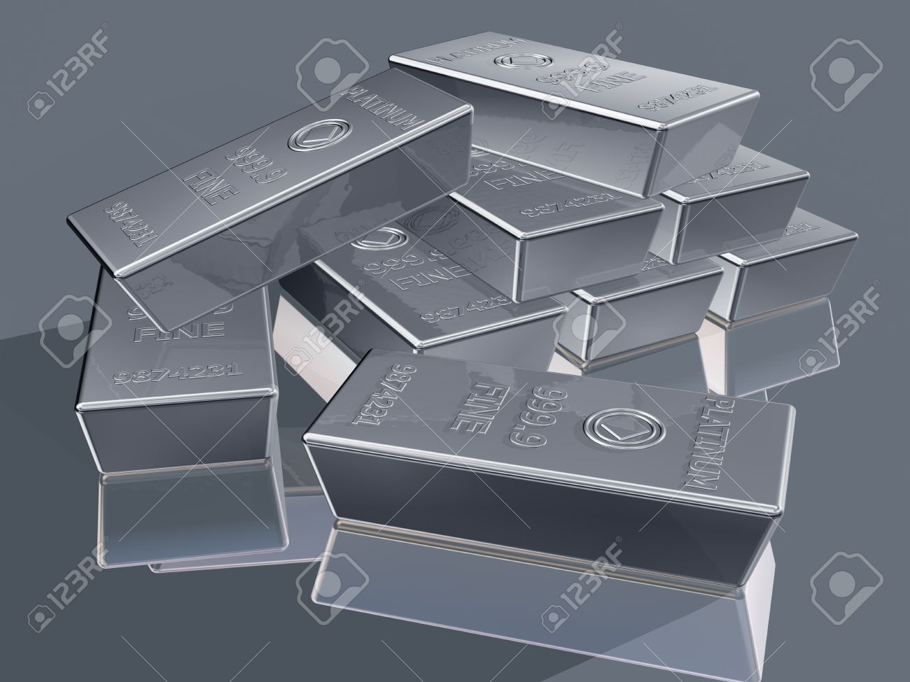 Illustration of platinum reserves piled in a stack Stock Illustration - 11854097