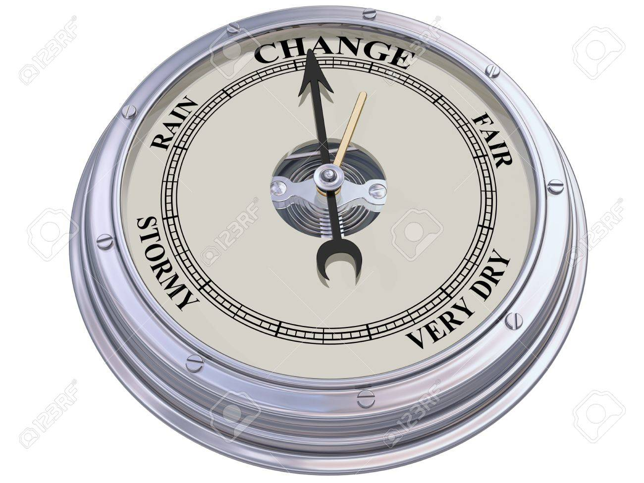 Isolated illustration of a barometer indicating changing conditions Stock Illustration - 14256131