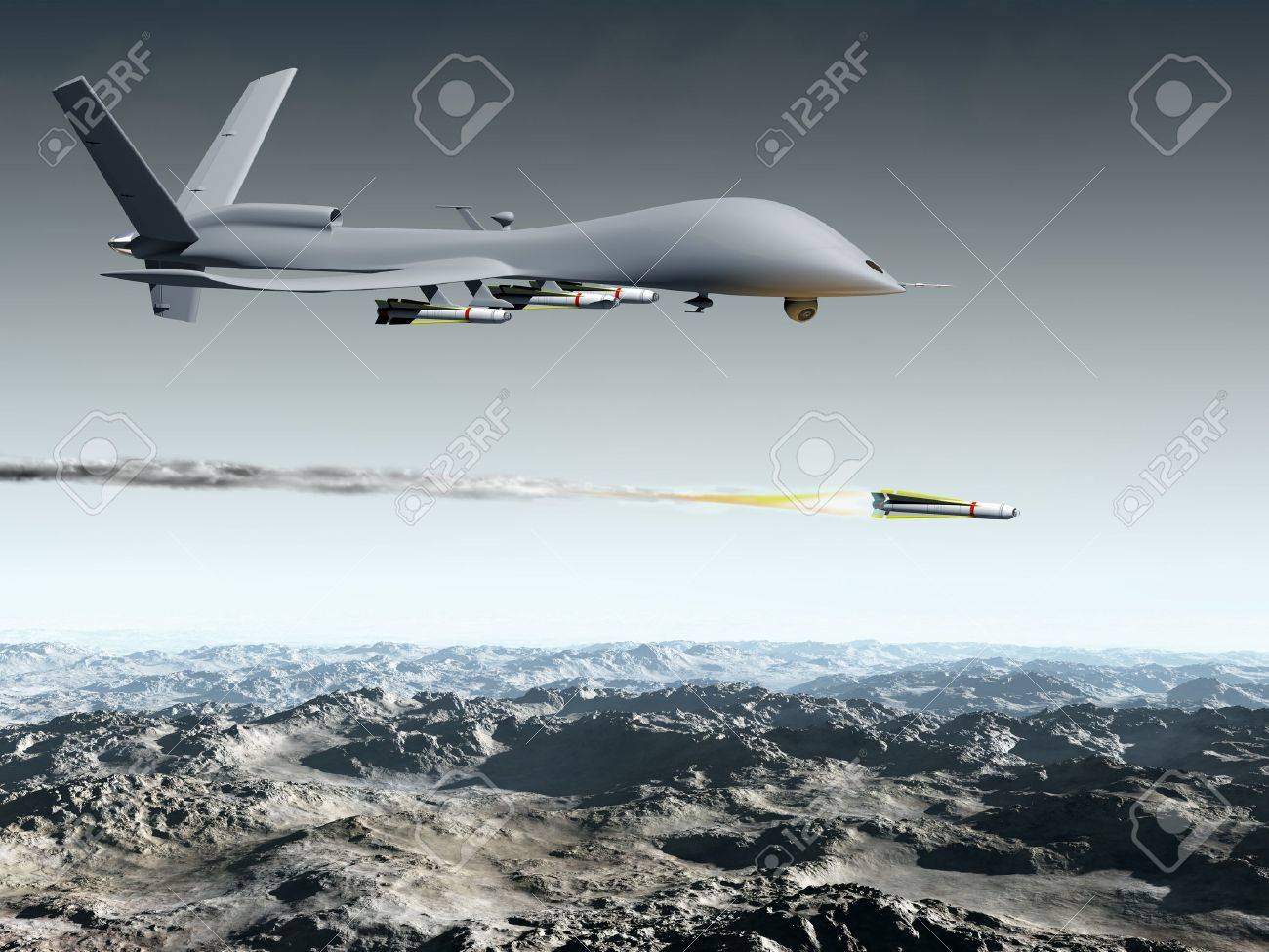 Drone Aircraft Launching An Air To Ground Missile Stock Photo