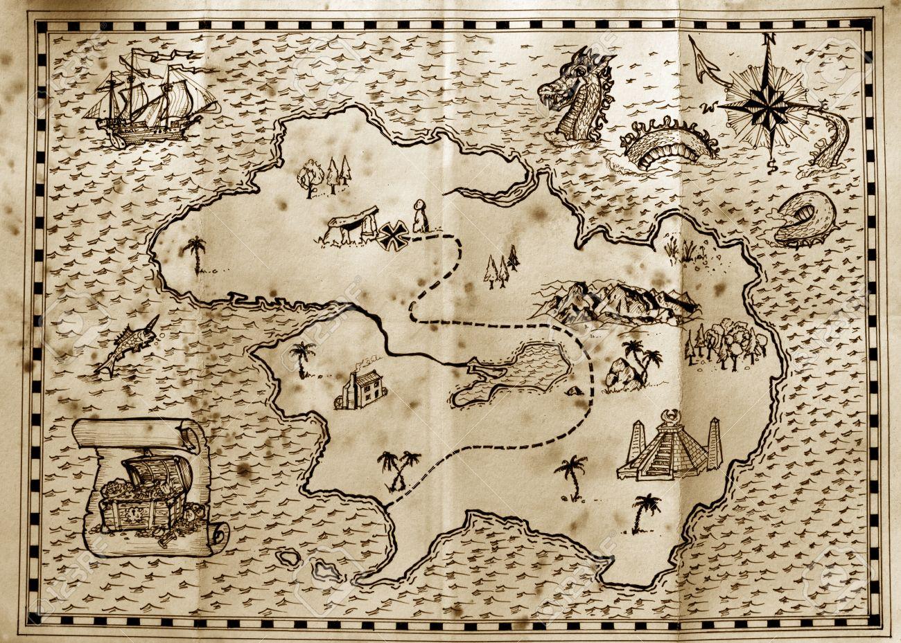 Carte Au Tresor Pirate.Old Carte Au Tresor Utilise Par Les Pirates Pour Trouver Un Tresor Cache